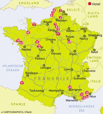 hotels frankrijk kaart